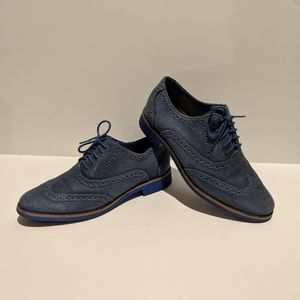 Cole Hann Blue Suede Wing-tip Oxfords